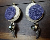 Purple Earrings Hemp Cord