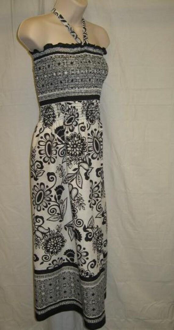 Black & White Mid Length Maxi Summer Dress