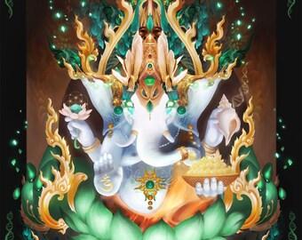 """Galactik Ganesh -Thai Ganesh Hindu Diety Painting - Ganesha digital art on canvas 48""""x38"""""""