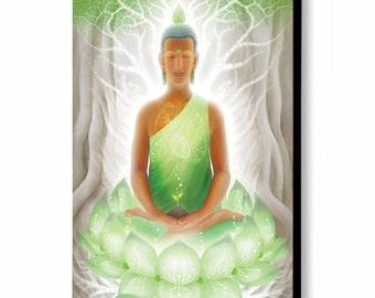"Pranasynthesis - Green thai buddha asian yoga meditation altar decor painting - 24""x16"""