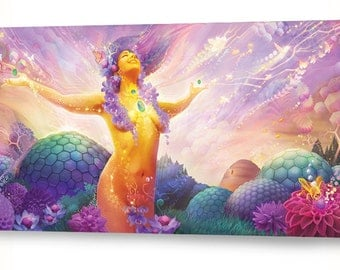 """Pollenectar - Painting utilizing imagery of bees, honey, and Goddess vibes - 36""""x18"""""""