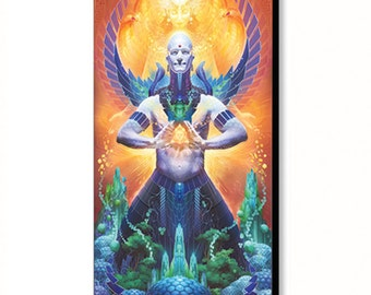 """Solar Citadel - sustainable permaculture green energy solar power painting - 36""""x20"""""""