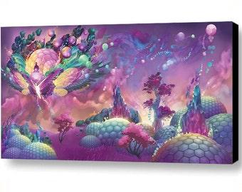 "Lotus Dome Culture - Digital Painting Canvas Art Print 36""x18"""