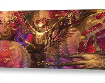 """Shaper of the Merkaba - Digital Painting with psychedelic, visionary technology - high quality art print - 48""""x22"""""""