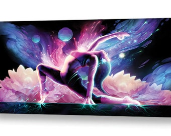 Yin Salutation - Large Yoga Painting on Canvas with yin asana for studio or private practice