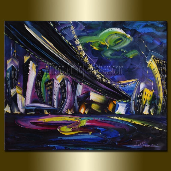Cityscape Print Limited Edition Fine Art Giclee Canvas Print from Original Oil Painting by Willson Lau 16X20 STRETCHED & Ready To Hang