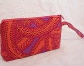 PS003 my urban bag HANDMADE phone camera purse wristlet bag kaffe fassett red pink orange