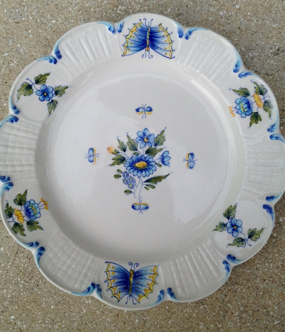 REDUCED Vintage Handpainted Italian Porcelain Plate- Flowers & Butterflies
