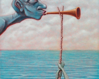 Lowbrow Pop Surrealism limited edition art print by Pete Gorski titled: Don't Blow Your Own Horn, Let Someone Else Blow