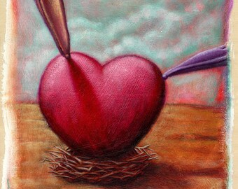 Lowbrow Pop surrealism limited edition art print by Pete Gorski titled: Love Nest