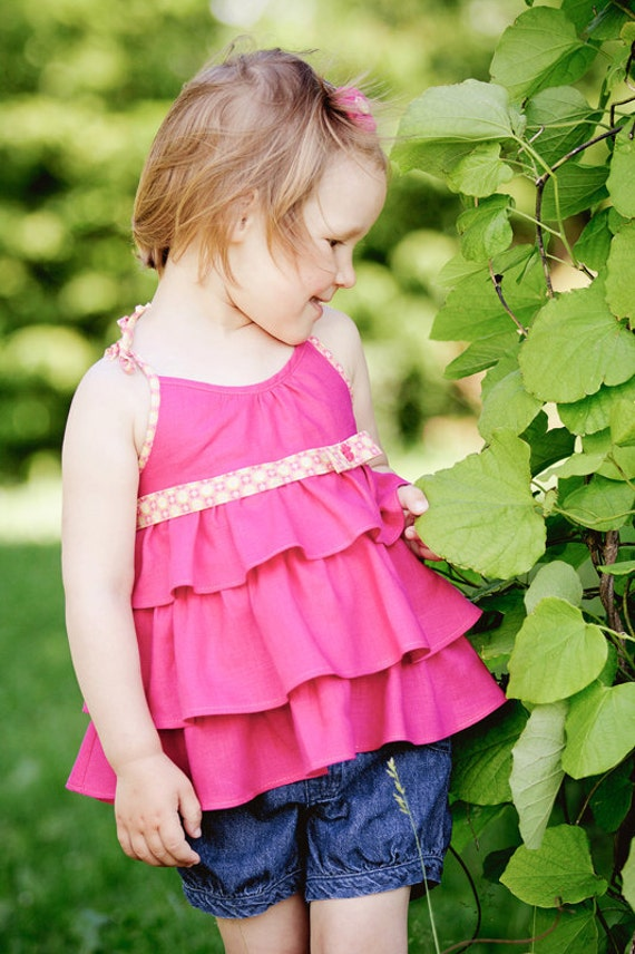 Girls top. Linen ruffle top. Pink top. Summer top. Size 3/4 T. Ready to ship.