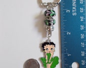 New Murano Lampwork Beaded Betty Boop Charm Key Chain or Clip On