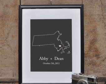 Massachusetts State Art Print // Custom Wedding Gift // Personalized Anniversary Present // Housewarming Gift