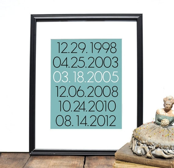 Custom Special Dates Print // Personalized Wedding Present // Custom Anniversary Gift // Birthday Present // Housewarming