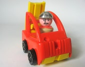 Vintage Fisher Price Little People Fork Lift with Construction Worker with Silver Helmet, Little Trucks 343