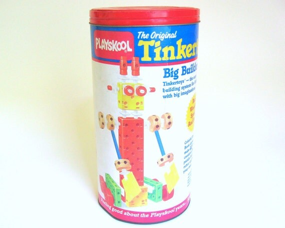 Vintage 1986 Tinkertoy Big Builder System - Only Missing 1 Piece - Playskool Wooden Tinker Toy Construction Set of 111 Pieces