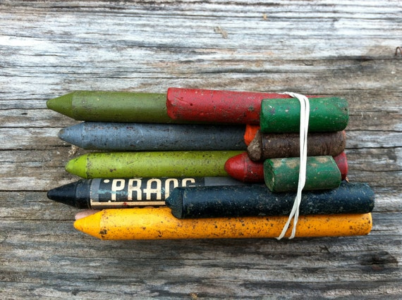 Vintage crayons, office supplies, antique, old school, navy blue, mixed media art, junk art finding crayon