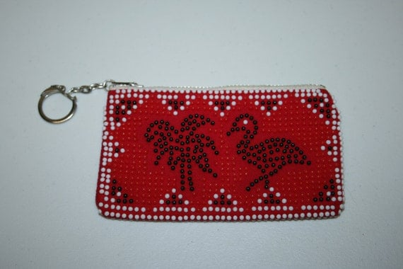 Vintage coin purse, red, beaded coin purse, zipper coin purse, red and black
