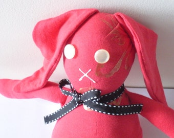 Eco Friendly Toy, Child Friendly, Red Bunny Plush