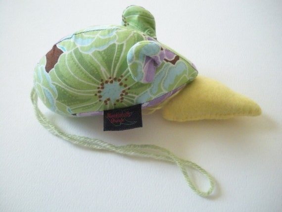 Emery Pincushion - Mouse Pincushion - Cabbage Rose Print - Purple And Green - LAST ONE