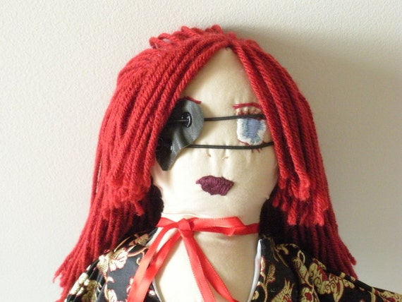 Japanese Doll - Samurai Doll - Red Head Doll - Asian Cloth Doll