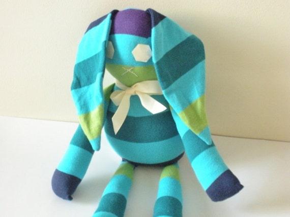 Eco Friendly Toy - Bunny Doll - Upcycled Plush - Knit Bunny - Stripes