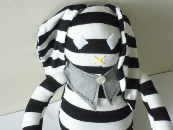 Tweedledum Doll, Bunny Rabbit Plush, Black and White