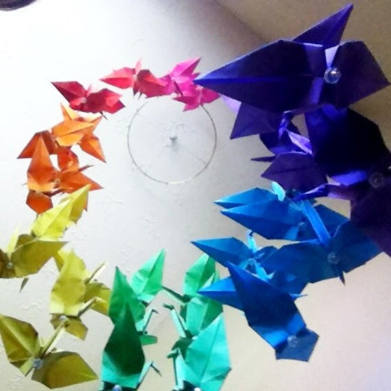 Origami Rainbow Crane Mobile Large