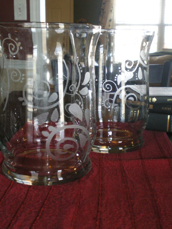 Swirly Paisley Etched Glass Hurricanes Set of 2
