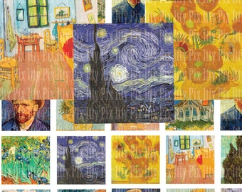 Digital Collage Sheet - Van Gogh digital collage sheet - 1 inch square - Inchies - Instant Download