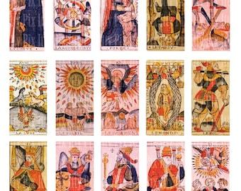 Digital Collage Sheet - Tarot - Jean Dodal - .75 x 1.5 inch rectangle digital collage - bamboo tile collage sheet - Instant Download