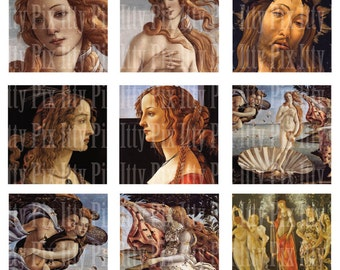 Botticelli Digital Collage Sheet - Inchies - Birth of Venus - 1 inch square - Fine Art - Instant Download
