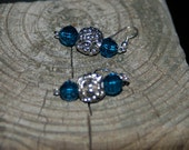 Teal Green Swarovski Crystal & Silver  Beaded Earrings