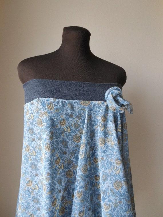 Pixie Shirt Bohemian Skirt Blue Gray Chiffon Flower Print Tattered Romantic Shabby Chic Maternity M L XL 2X Size 10 to 18