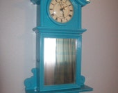 Turquoise upcycled vintage wall clock