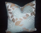 Blue and brown floral pillow cover