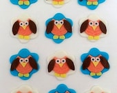 12 Fondant Edible Cupcake/Cookie Toppers - Owls