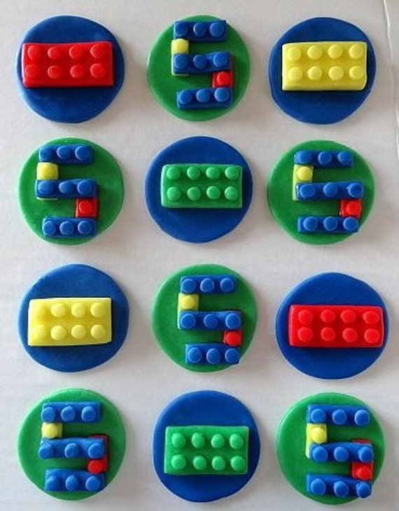 """12 Fondant Edible """"Lego"""" inspired cupcake toppers - edible building blocks, fondant toppres, fondant cookie toppers, kids birthday party"""