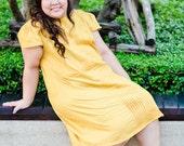 Plus Size Izzie Dress in Yellow Polka Dot