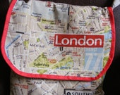 London's Calling - messenger bag printed in map of London fabric - MADE TO ORDER - can be personalised