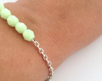 Bar bracelet - Pastel bracelet - Pastel beads - Beaded bracelet - Mint Beads - Delicate bracelet - Gift for her