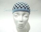 Blue Black & White Small Men Hat/Kufi
