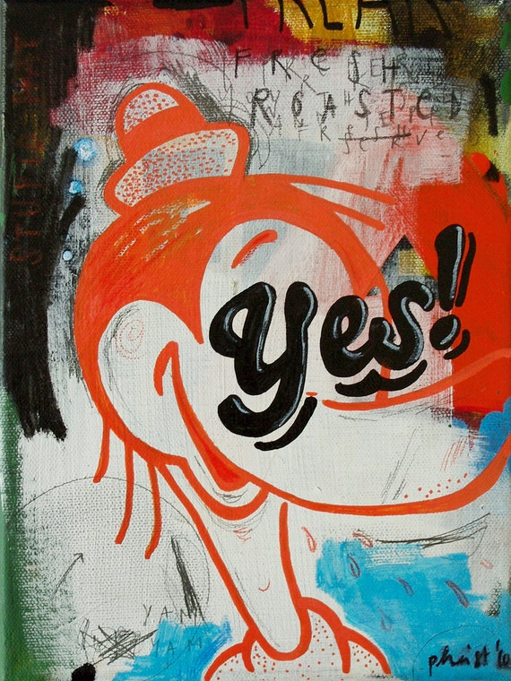 Original painting on canvas, grunge pop fine art / Yes / 24 x 18