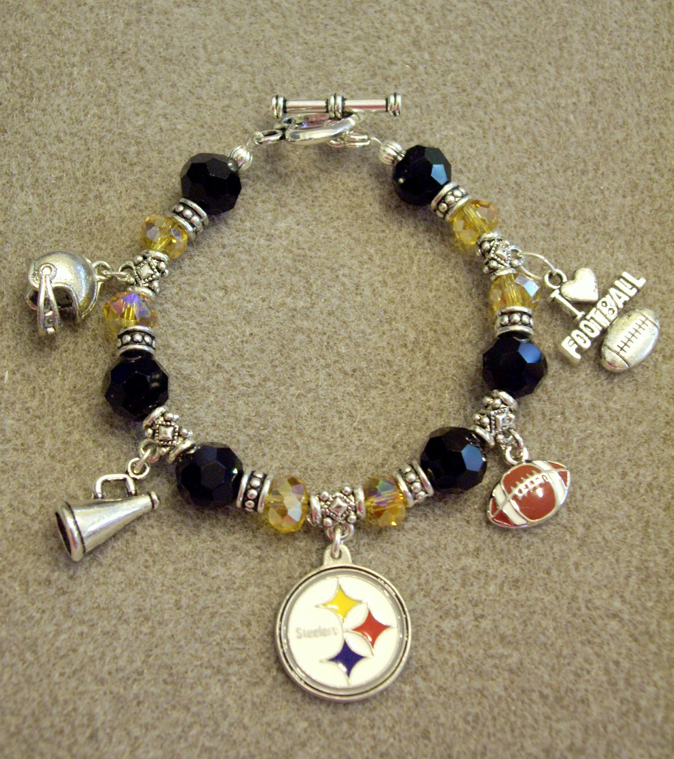 pittsburgh steelers nfl dangle charm bracelet with by