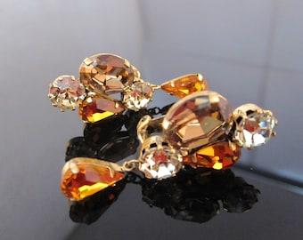 "Vintage ""Austria"" rhinestone clip earring"