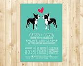 "Dog Wedding Invitation ""Boston Love"" DIY Digital Printable Suite OR Printed Invitation Suite"