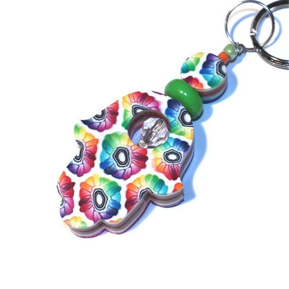 Polymer clay Hamsa keychain, Luck Hamsa, handmade rainbow keychain, elegant keychain accessory, evil eye protection