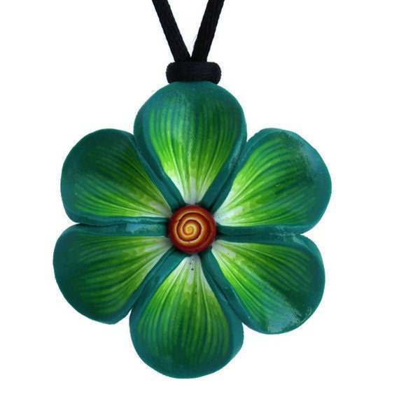 Mint green necklace, Spring flower necklace, polymer clay necklace, Millefiori flower in a variety of green colors, gift for girls and wome