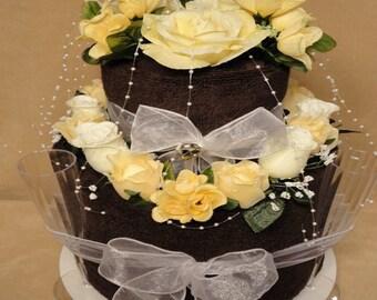 Chocolate Bridal Shower Towel Cake - Wedding Gift - Shower Centerpiece - Bridal Shower Decoration