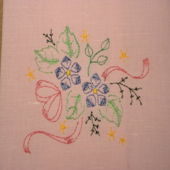 Pink Linen Embroidered Flowers Tea Towel/Hand By